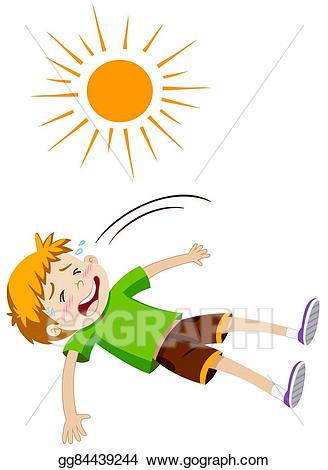 Heat clipart heat stroke. Vector stock boy feeling