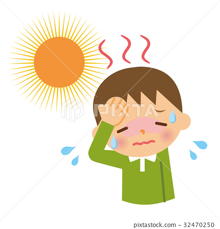 Sunstroke child stock illustration. Heat clipart heat stroke