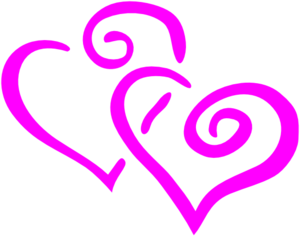 Heat clipart intertwined. Hot pink hearts clip