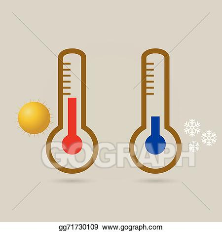 Vector art two thermometers. Heat clipart low temperature
