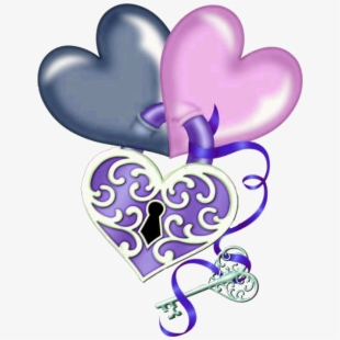 Key love lock and. Heat clipart many heart