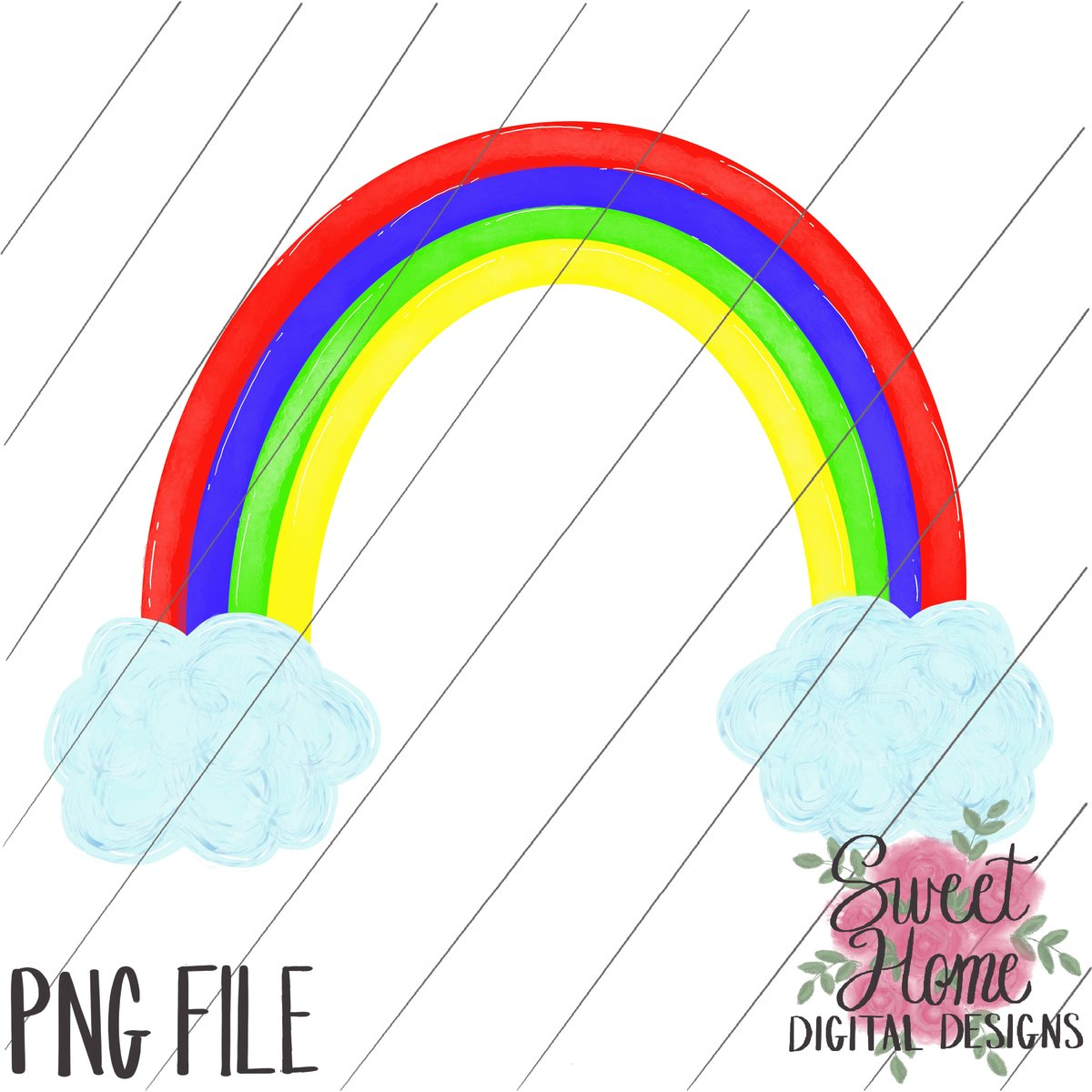 Heat clipart rainbow. With clouds primary colors