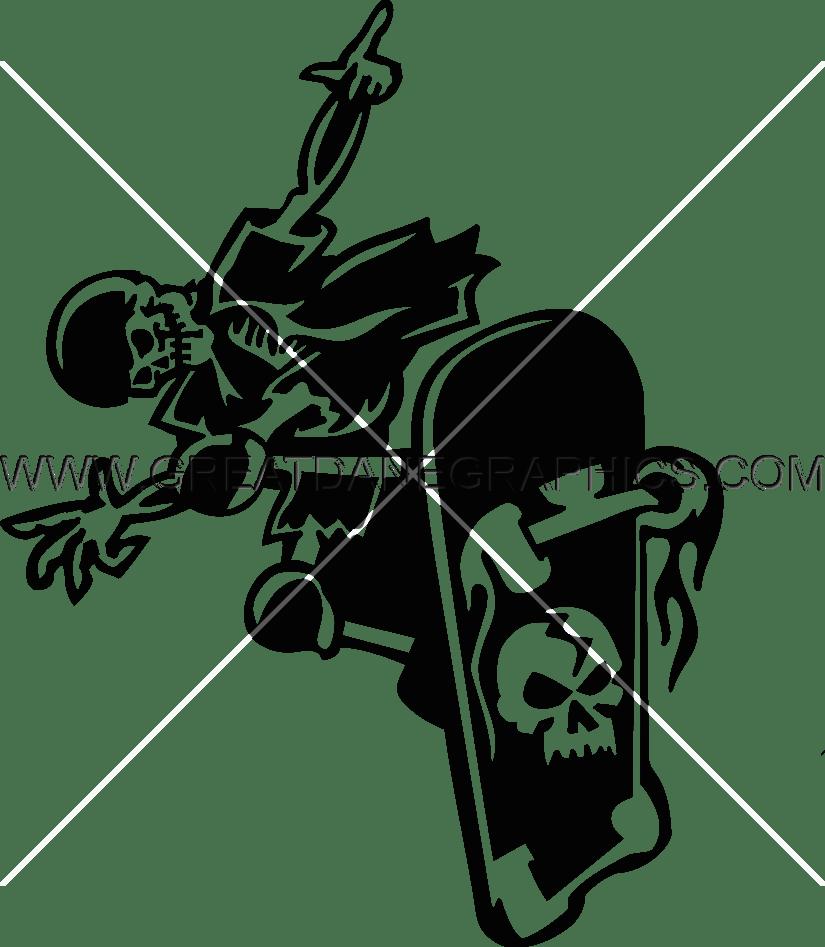 Heat clipart skeleton. Skateboarding production ready artwork
