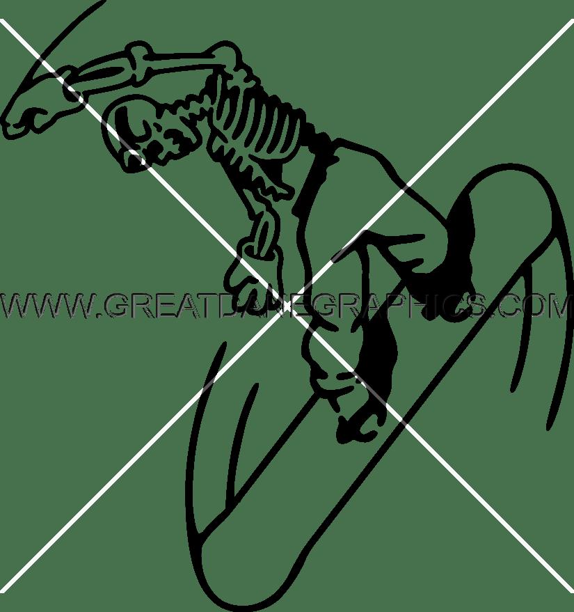 Snowboarding production ready artwork. Heat clipart skeleton