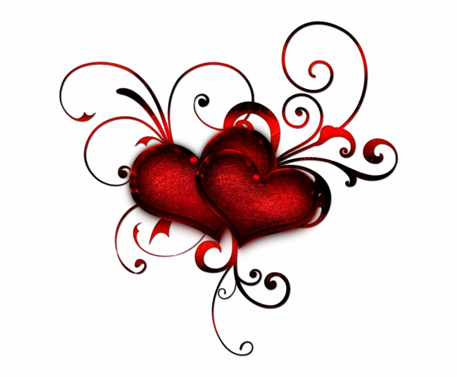 Heat clipart trail heart. Red hearts with curls