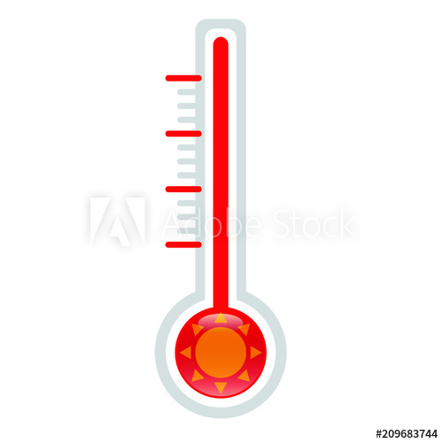 Heat clipart vector. Thermometer hot icon illustration