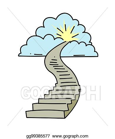 Heaven clipart art. Vector stairway to drawing