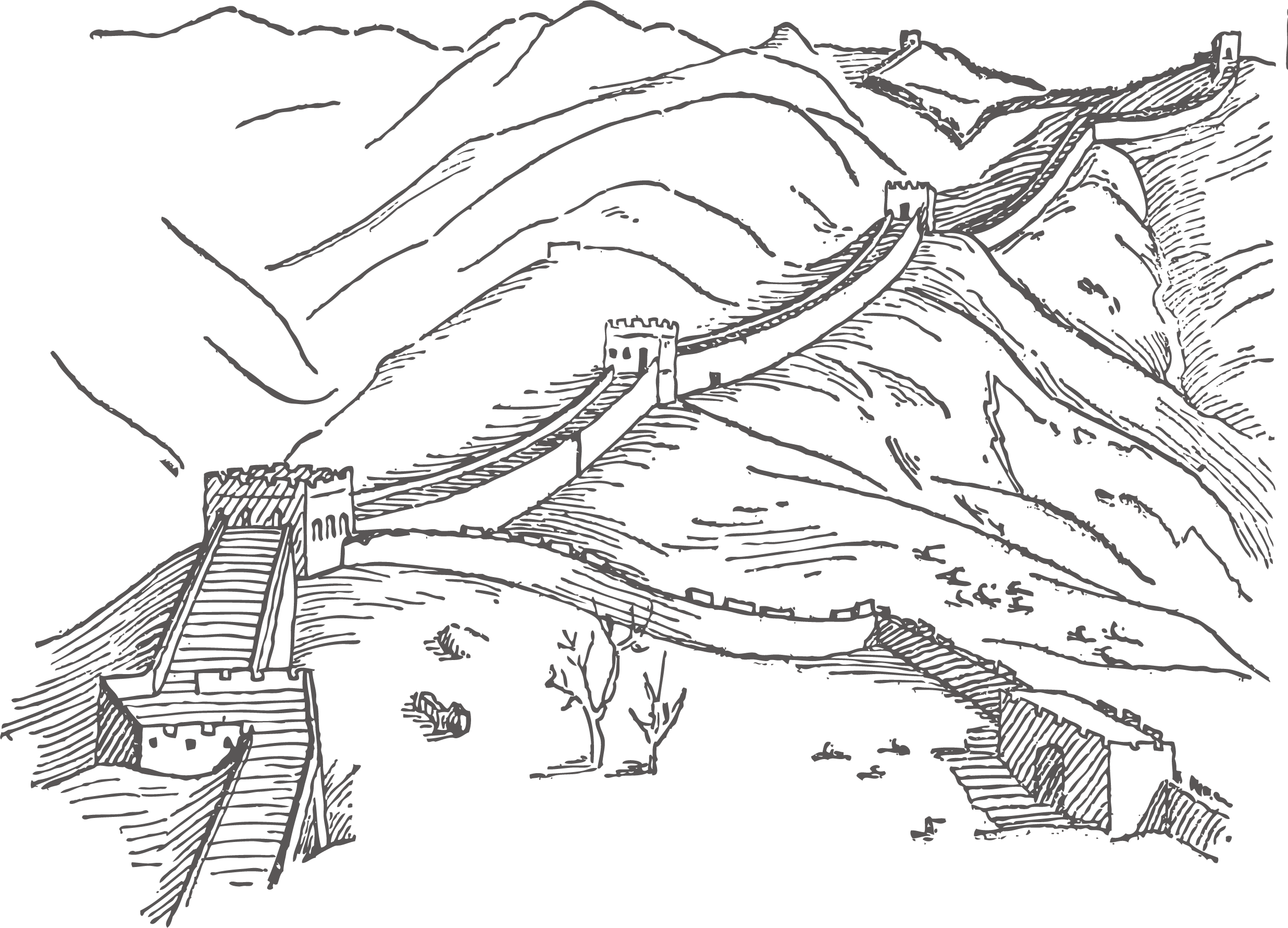 Fine great wall of. Heaven clipart black and white