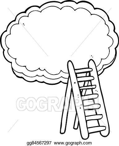 Heaven clipart black and white. Vector art cartoon ladder