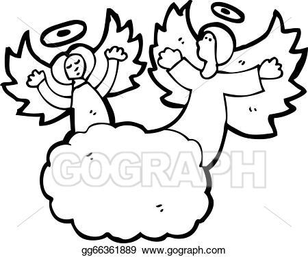 Vector illustration angels in. Heaven clipart cartoon