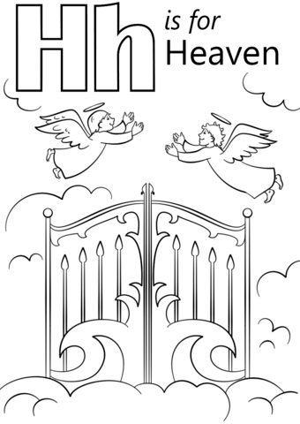 Letter h is for. Heaven clipart coloring page