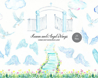 Pink and angel s. Heaven clipart watercolor