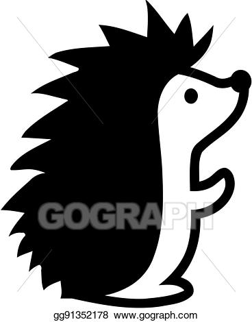 Vector illustration stock clip. Hedgehog clipart comic