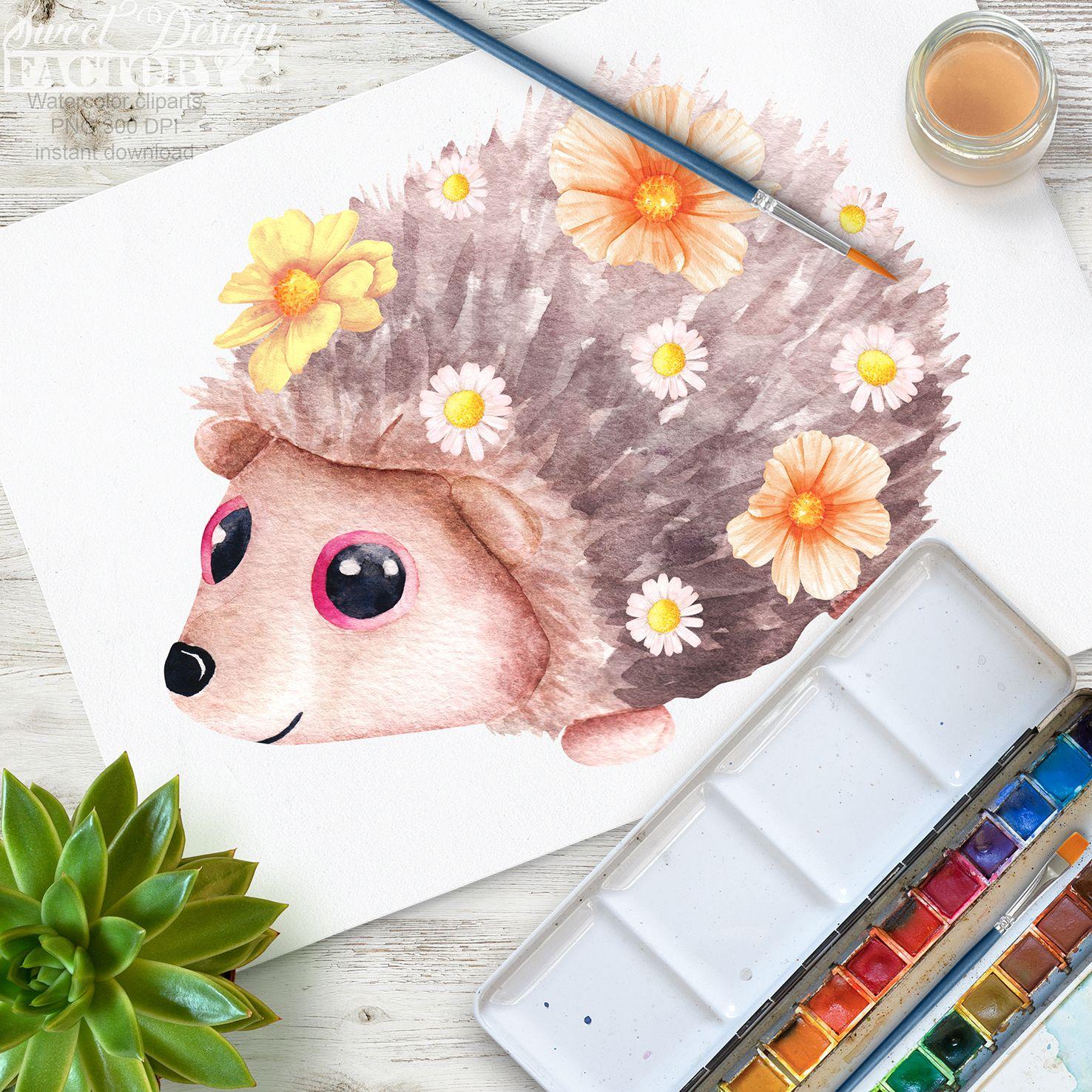 Owl fox forest animal. Hedgehog clipart flower