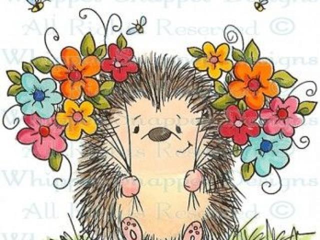 Free download clip art. Hedgehog clipart flower