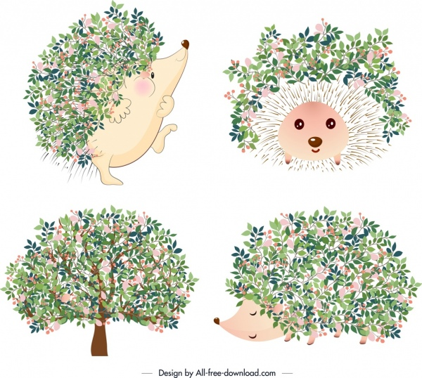 Hedgehog clipart flower. Nature icons tree flowers