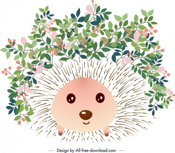 Decorative background icons decor. Hedgehog clipart flower