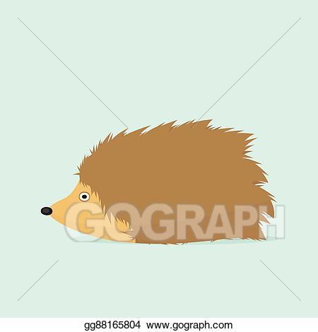 Hedgehog clipart simple cartoon. Vector art eps gg