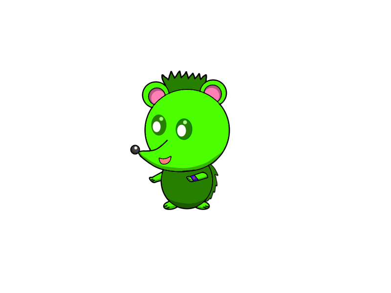 Spikou the green by. Hedgehog clipart spiky