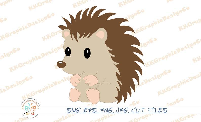 Svg cut file clip. Hedgehog clipart vector