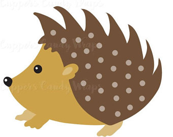 Woodland clipart hedgehog. Pencil and in color