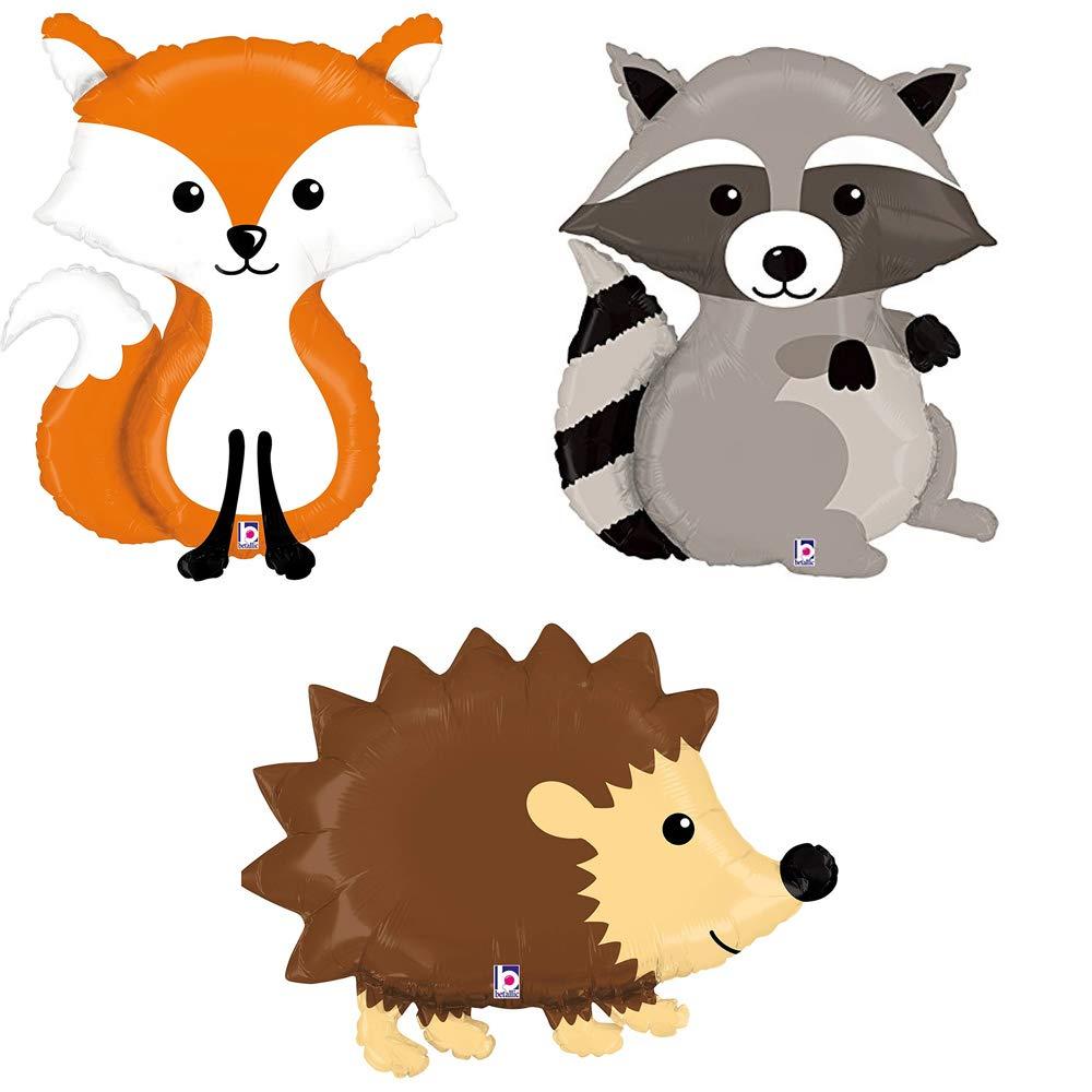 Raccoon fox mylar balloon. Hedgehog clipart woodland animals