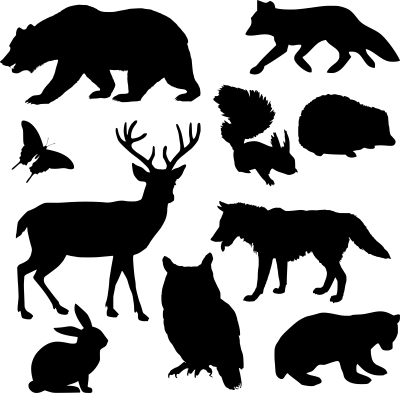 Animals silhouette medium image. Woodland clipart black and white