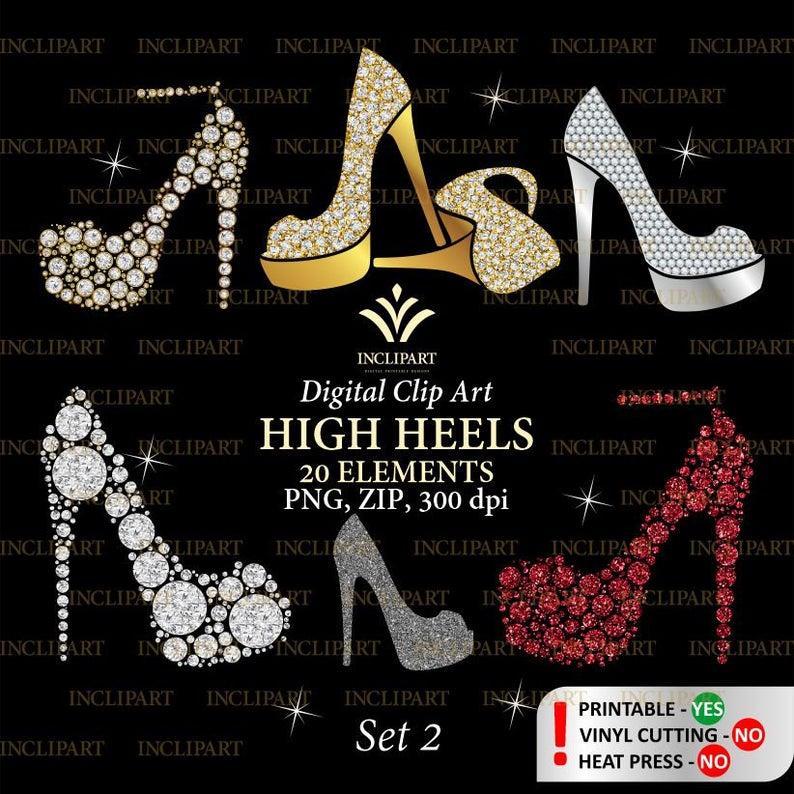 Shoe ladies girls bridal. Heels clipart diamond