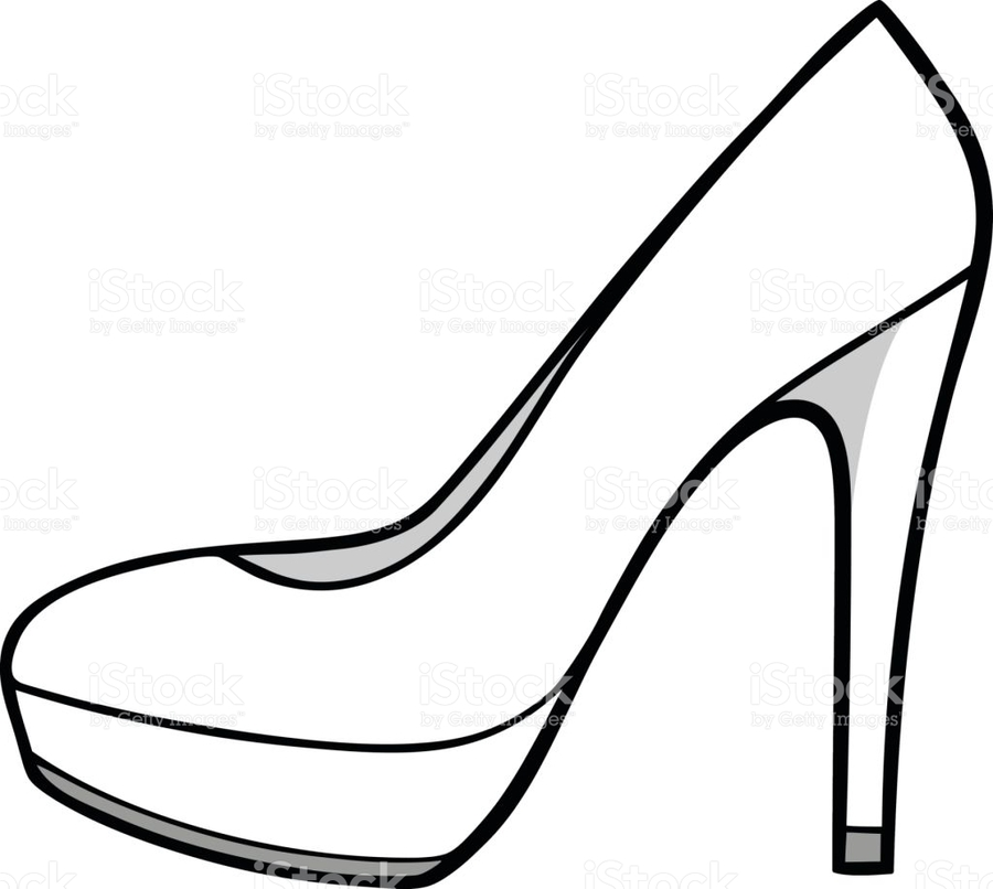 Heels clipart drawing. Illustration white black line