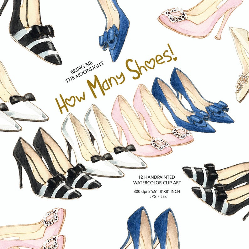 Heels clipart fashion shoe. Shoes high watercolor