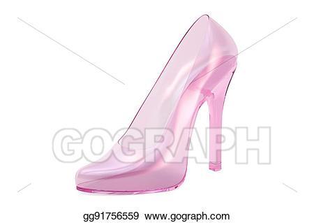 Stock illustration pink crystal. Heels clipart glass slipper