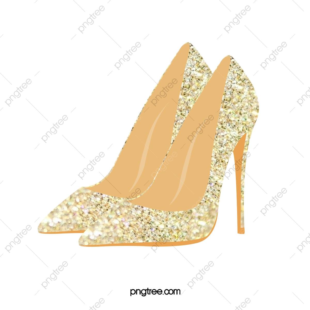 Gold high heeled shoes. Heels clipart golden shoe