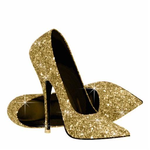 Gold glitter high heel. Heels clipart golden shoe