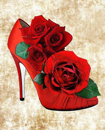 Red high heel shoe. Heels clipart hat