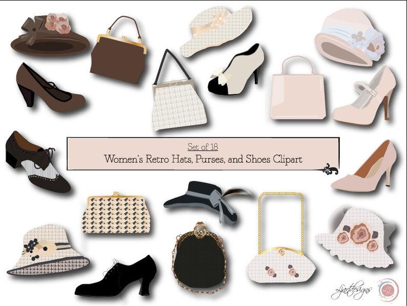 Heels clipart hat. Retro shoes purses clip