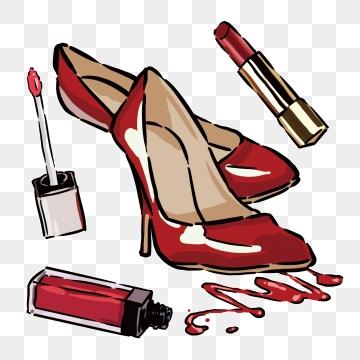 Heels clipart lipstick. Free download cartoon handbag