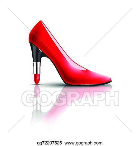 Vector art womens shoes. Heels clipart lipstick