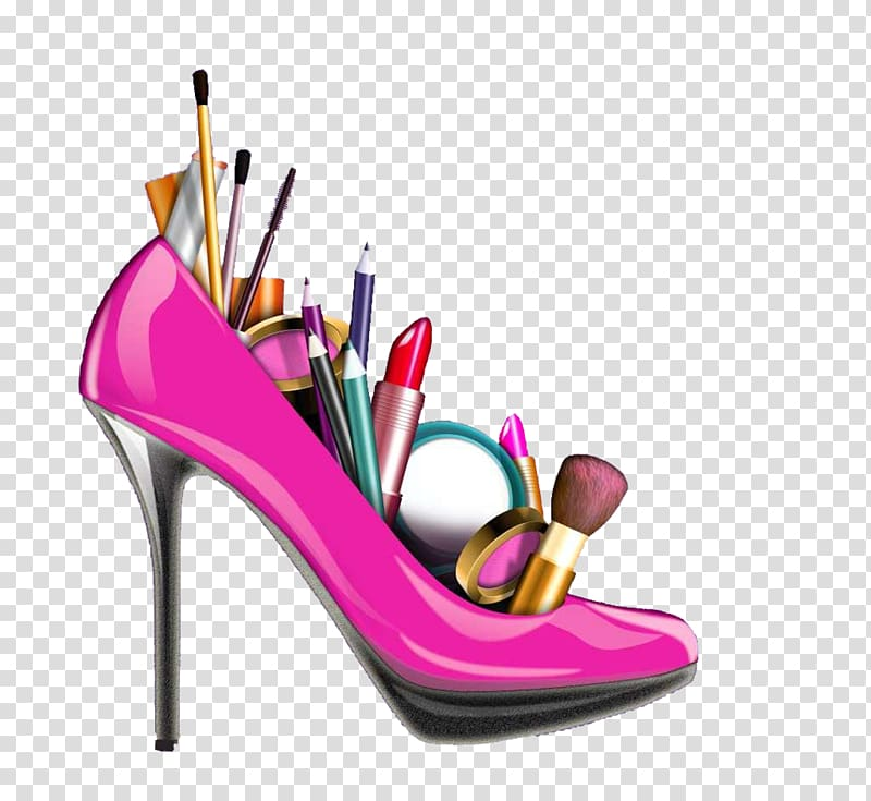 Pink stiletto shoe with. Heels clipart lipstick