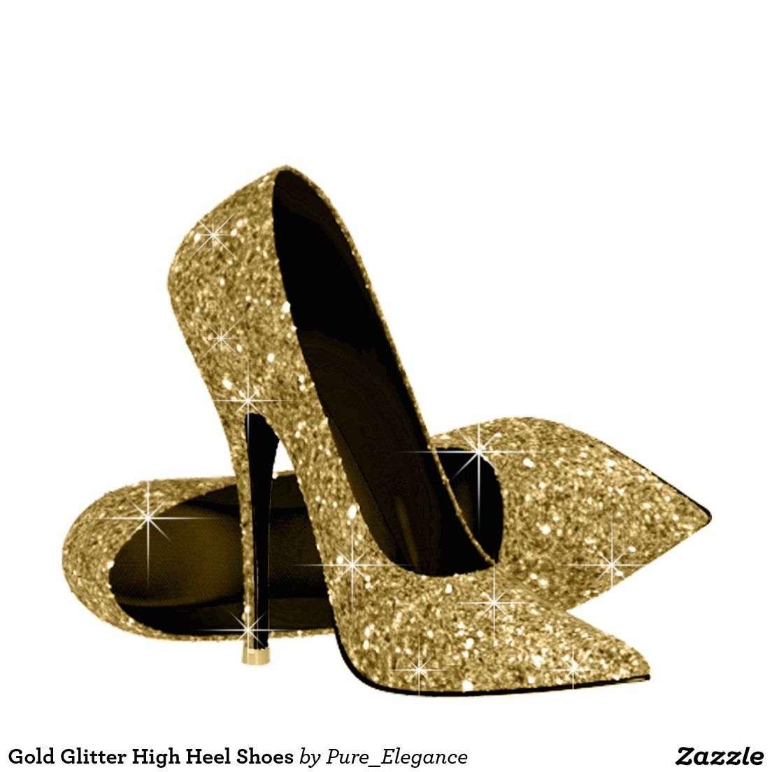 Heels clipart sparkly heel. Gold glitter high shoes