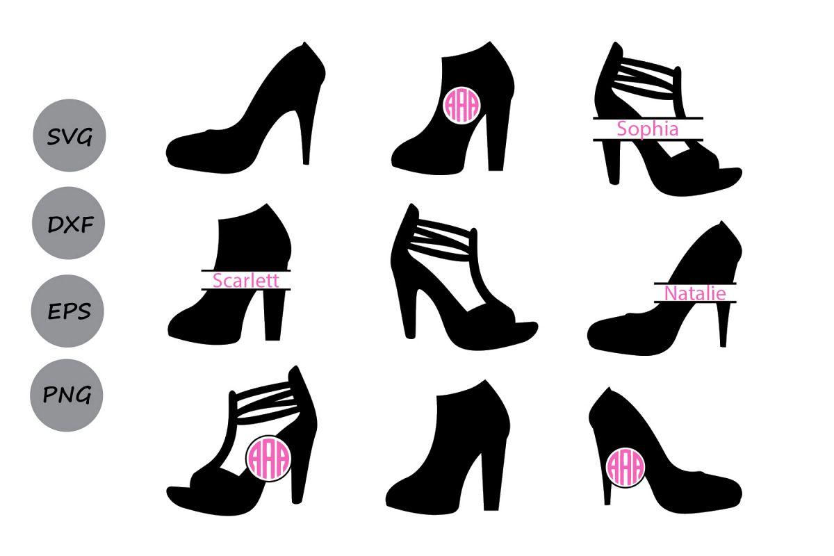 High heel monogram shoes. Heels clipart svg