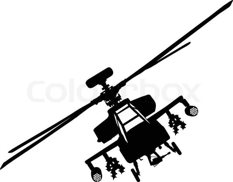 Resolution silhouette . Helicopter clipart apache