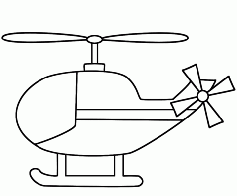 Simple coloring page free. Helicopter clipart easy