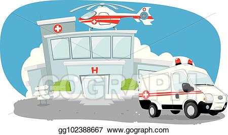 Helicopter clipart hospital. Vector stock building with