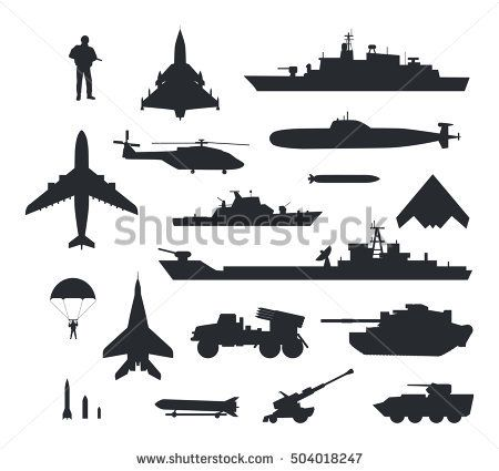 Armament and troops silhouettes. Helicopter clipart military parachute