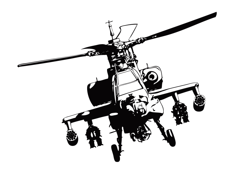 Boeing ah apache clip. Helicopter clipart orange