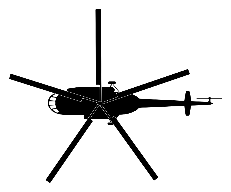 Mil mi hip silhouette. Helicopter clipart top view