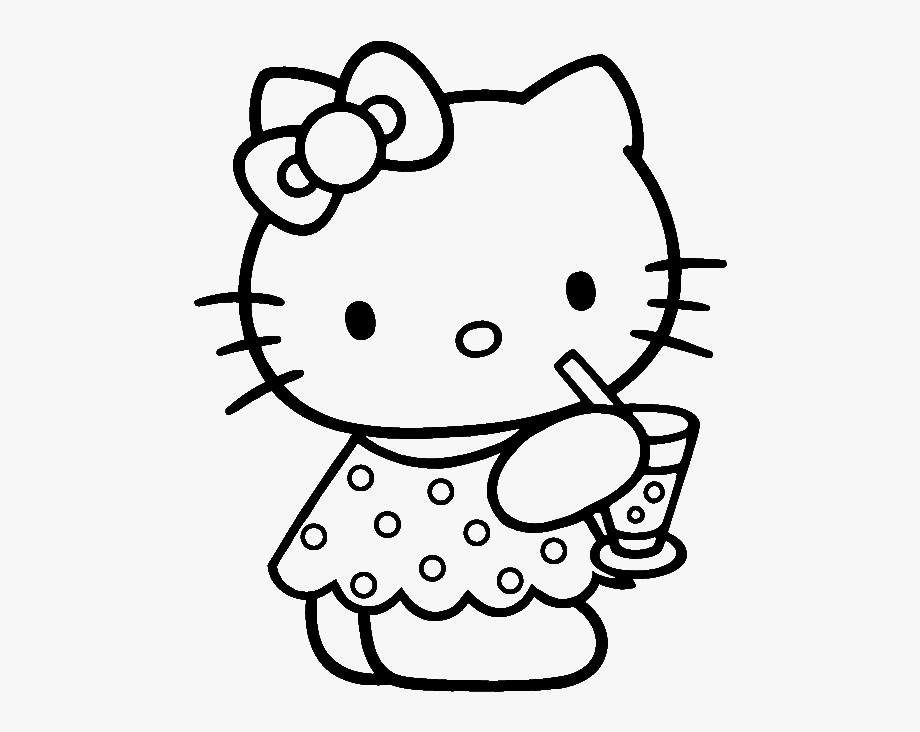 Drawing printables hello pages. Kitty clipart colouring