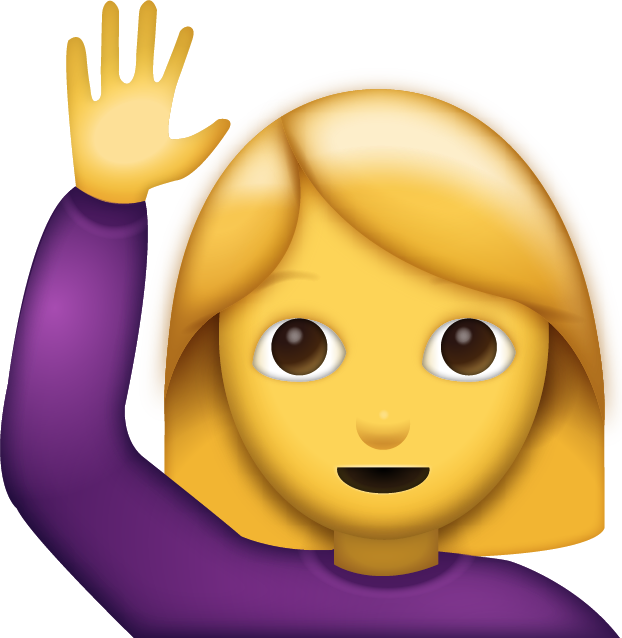 Download woman saying hi. Proud clipart emoji