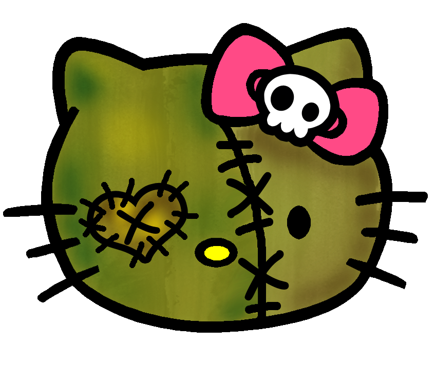 Hello kitty cute just. Zombie clipart face