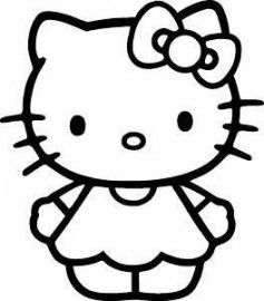 Hello cute . Kitty clipart black and white